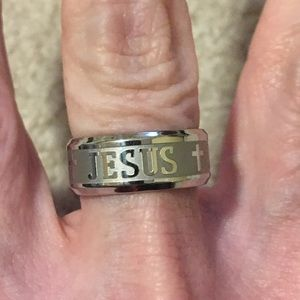 Jewelry - New JESUS stainless steel silver ring size 7